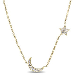 Miadora Signature Collection 14k Yellow Gold 1/6ct TDW Diamond Star and Moon Station Necklace