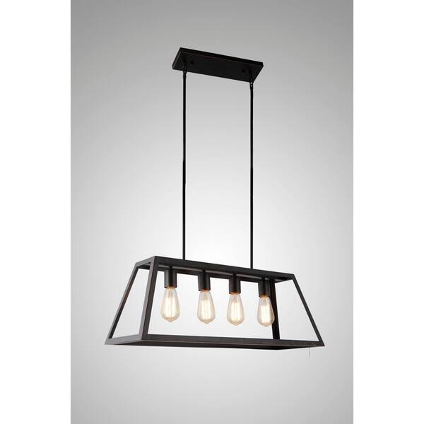 Y Decor Boxie 4 Light Pendant In Oil Rubbed