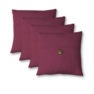 Essex Button 18 Inch Decorative Throw Pillow Set of 4