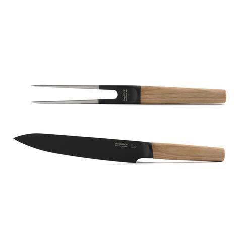 Ron 2pc Carving Set, Knife & Fork, Natural