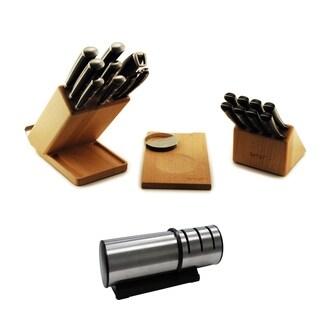 Forged 21pc Smart Knife Block w/Swivel base, Cut Board, Herb Cutter, Sharpener