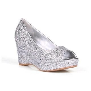 Celeste Hedy-07 Glitter Embellish Women's Peep toe Wedge Heels