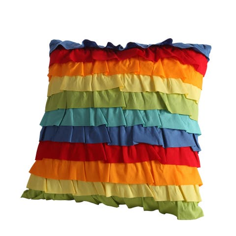 Fiesta Baja Cotton 18-inch Ruffled Decorative Throw PIllow