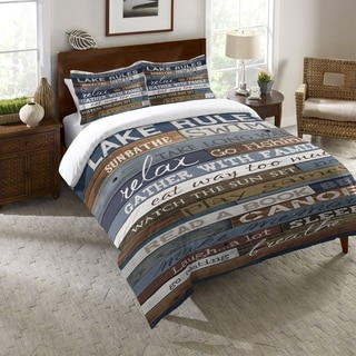 Laural Home Rules of the Lake Duvet Standard Sham