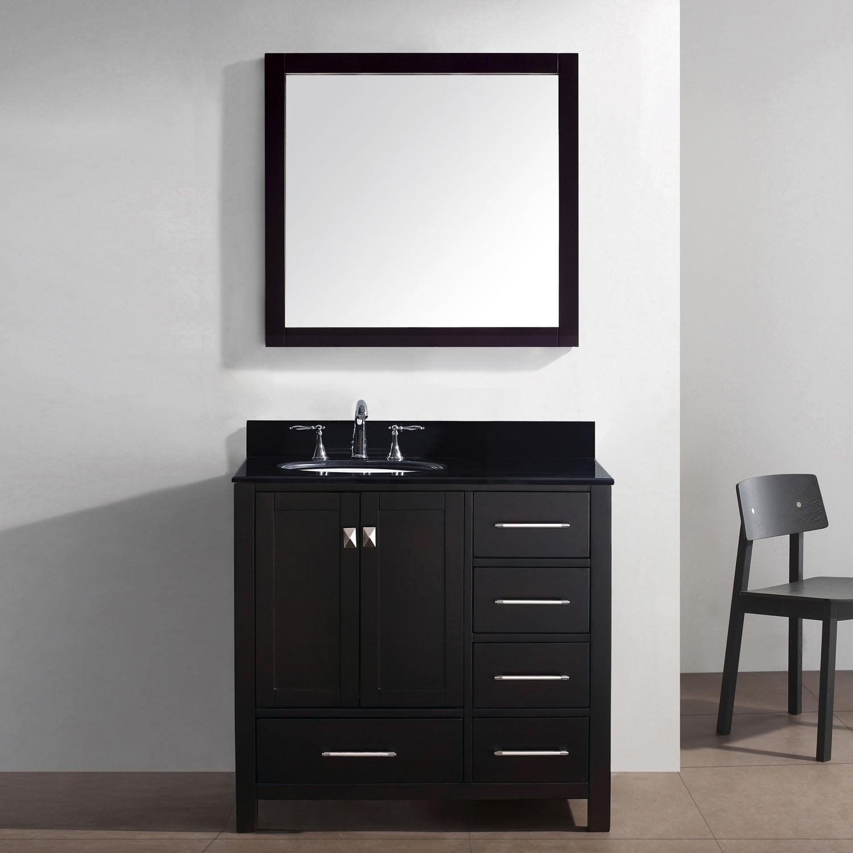 Black Bathroom Vanity Set: Caroline Avenue 36-in Black Granite Single Bathroom Vanity