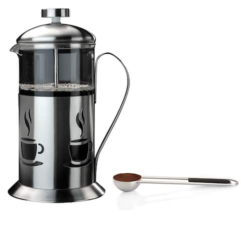 3pc Coffee Set: .7 Qt French Press & SS Coffee Clipping Spoon