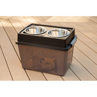 IRIS Large Elevated Pet Feeder with Airtight Storage (Option: Black)