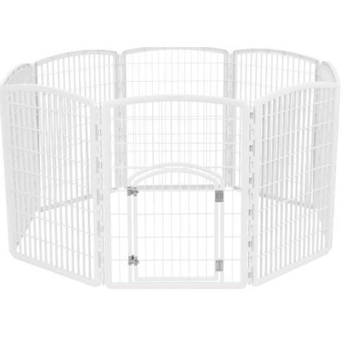 IRIS White 34-inch 8-panel Exercise Pet Playpen with Door