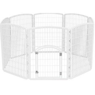 IRIS 34-inch Exercise 8-panel White Pet Playpen with Door