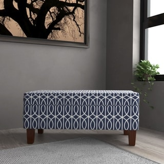 HomePop Bella Large Storage Bench - Blue Trellis