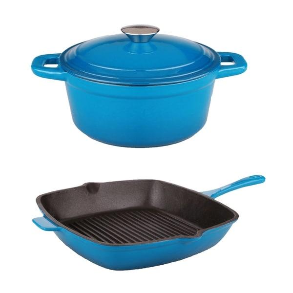 Neo Cast Iron 3pc Set 3Qt Cov Dutch Oven & G/P, Blue