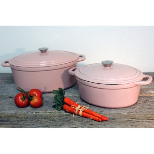 Neo Cast Iron 4pc Casserole Set, Pink. Opens flyout.