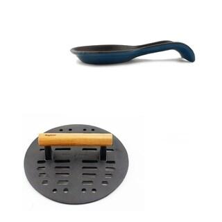 Cast Iron 2pc Access Set: Spn & Steak Press - Blue