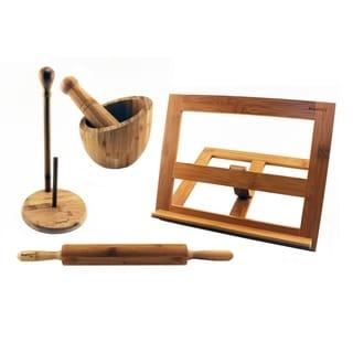 Bamboo 4pc Kitchen Set: CkBk Hldr, Garlic Bowl, Paper Twl Hldr, & RollingPin