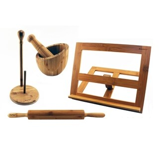 Bamboo 4pc Kitchen Set: CkBk Hldr, Garlic Bowl, Paper Twl Hldr, & RollingPin