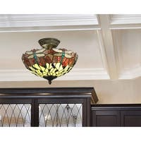 "Dale Tiffany Select Corrall Dragonfly 14"" Flush Mount"