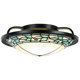"Dale Tiffany Select 13.5""W Green Leaves LED Semi Flush Mount"