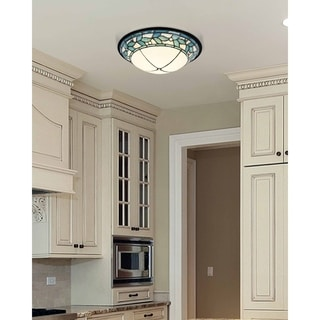"""Dale Tiffany Select 15""""W Green Leaves Dome LED Flush Mount"""