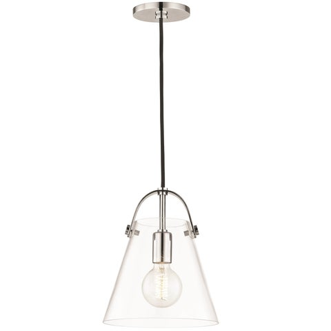 Mitzi by Hudson Valley Karin 1-light Polished Nickel 9-inch Pendant, Clear Glass - Silver
