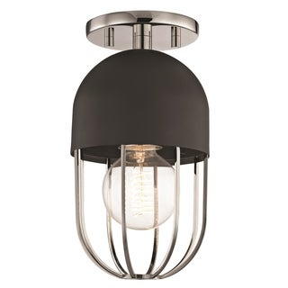 Mitzi by Hudson Valley Haley 1-light Polished Nickel Flush Mount with Black Accents
