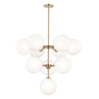 Mitzi by Hudson Valley Ashleigh LED Aged Brass Chandelier, Clear Glass Outside Etched Glass Inside