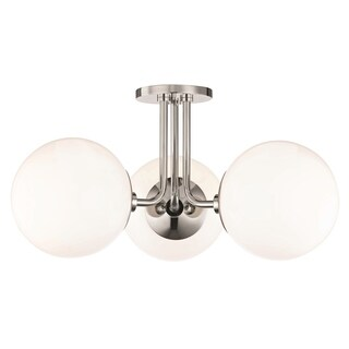 Mitzi by Hudson Valley Stella 3-light Polished Nickel Semi-Flush Mount, Opal Glossy Glass