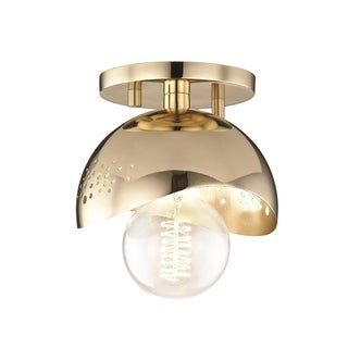 Mitzi by Hudson Valley Heidi 1-light Polished Brass Flush Mount