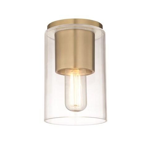 Mitzi by Hudson Valley Lula 1-light Aged Brass Flush Mount, Clear Glass