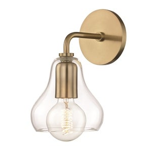 Mitzi by Hudson Valley Sadie 1-light Aged Brass 5.75-inch Wall Sconce, Clear Glass