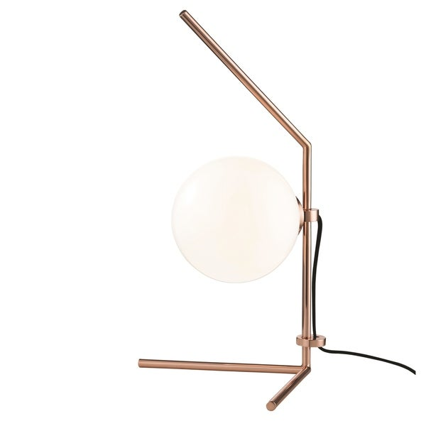 Mitzi by Hudson Valley Tori LED Polished Copper Table Lamp, Opal Glossy Glass
