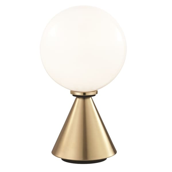 Mitzi by Hudson Valley Piper LED Aged Brass 13.25-inch Table Lamp with Black Accents, Opal Glossy Glass