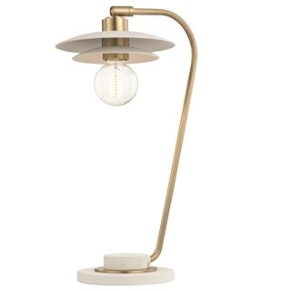 Mitzi by Hudson Valley Milla 1-light Aged Brass Table Lamp with White Accents