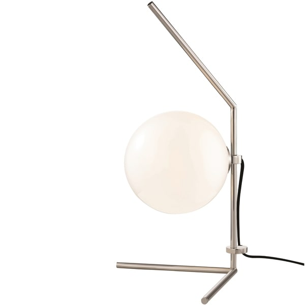 Mitzi by Hudson Valley Tori LED Polished Nickel Table Lamp, Opal Glossy Glass