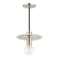 Mitzi by Hudson Valley Milo 1-light Polished Nickel 9-inch Pendant with White Accents