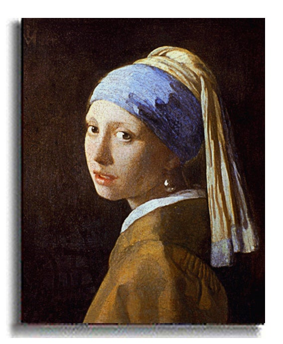 Girl with Pearl Earring - Vermeer Stretched Canvas - Thumbnail 1