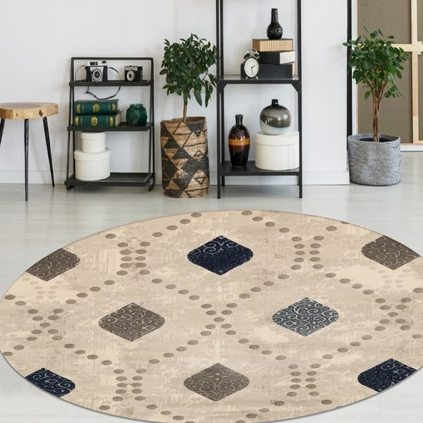 Isabel Style Bone Area Rug By Admire Home Living - 5'3 round