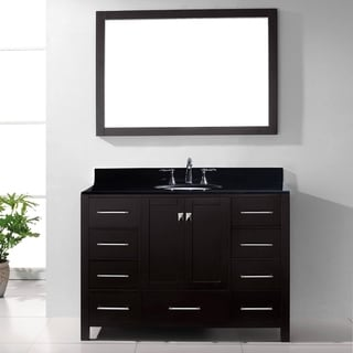 Virtu USA Caroline Avenue 48 Inch Black Granite Single Bathroom Vanity Set