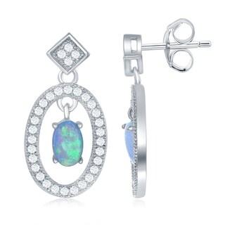 La Preciosa Sterling Silver Open Oval with Center Opal and CZ Border Drop Earrings