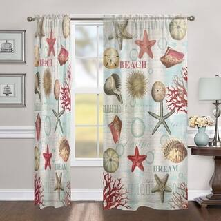 Laural Home Dream Beach Shells Collage 84 Inch Sheer Curtain Panel|https://ak1.ostkcdn.com/images/products/17118022/P23386419.jpg?impolicy=medium