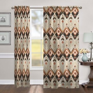 "Laural Home Natural Aztec 84 Inch Room Darkening Curtain Panel - 84l""x50w"""
