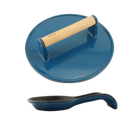 Cast Iron 2pc Set: Spn & Steak Press, Blue