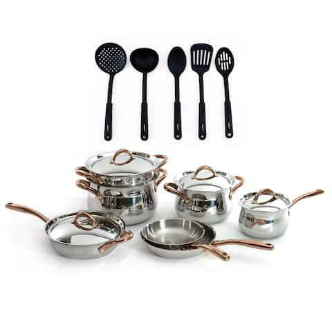 Ouro Gold 16pc SS Cookware Set with Lid and 5Pc Tool Set