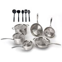 Professional 15pc 18/10 SS Cookware Set/ 5pc Nylon Tool Set