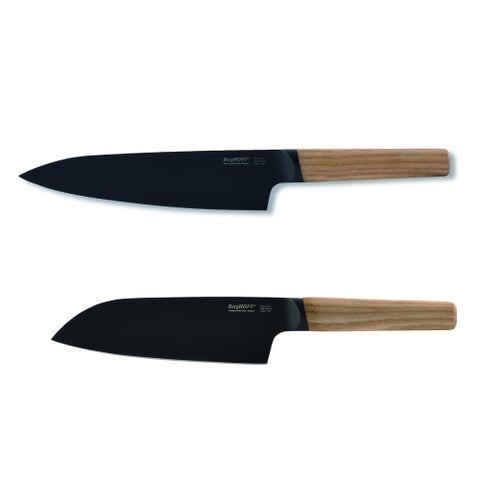 Ron 2pc Cutlery Set: Chef & Santoku, Natural