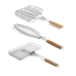 3pc Grill Basket Set: Univ., Veg., & Fish - Silver