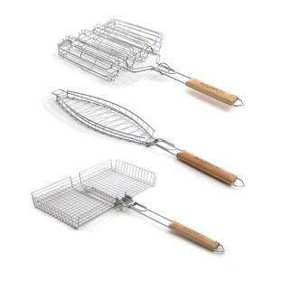 3pc Grill Basket Set: Univ., Veg., & Fish - Silver