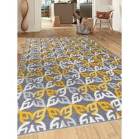 "Contemporary Modern Geometric Non-Slip GrayYellow Area Rug - 7'10"" x 10'"