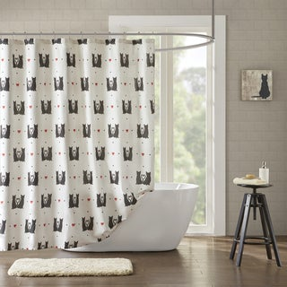 HipStyle Mimi Natural Cotton Duck Printed Shower Curtain