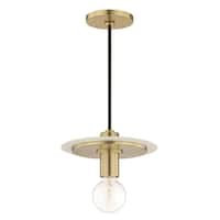 Mitzi by Hudson Valley Milo 1-light Aged Brass 9-inch Pendant with White Accents