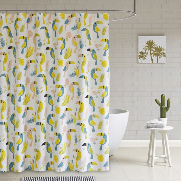 HipStyle Tuki Multi Cotton Duck Printed Shower Curtain